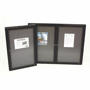 Nobo 2 Door 910x1220mm Enclosed Fabric Noticeboard