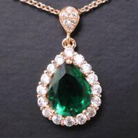 Green Emerald Teardrop Pear Diamond Halo Pendant Necklace 14K Rose Gold Plated