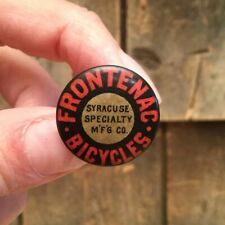Antique 1890/1900s Bicycle Stud Celluloid Button Pin FRONTENAC BICYCLES SYRACUSE