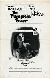 THE PUMPKIN EATER (1964) + Ad Sheet • Bancroft, Finch, Mason • Uncut 6p Tri-fold
