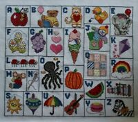 ABCs Pictures Apple Cat Duck Sun Zebra Cross Stitch Completed Finished Unframed