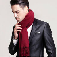 New Winter Thick Imitation Cashmere Tassels Pure Color Scarves Men Scarf Couple