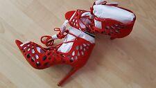 Zara Red Openwork Wraparound High Heel Lace Up Sandals BNWT SIZE UK 3 EU 36