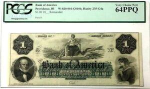 Providence, RI Bank of America $1 One Dollar 18xx Unissued Remainder PCGS 64PPQ