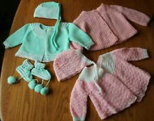 Hand Knit Baby Outfits Clothing Sweater Hat bonnet Booties Pink green or doll