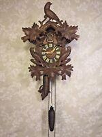 Antique Cuckoo Clock 1 Day Movement Runs Strikes Nice Bird Topper Germany
