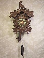 Antique Cuckoo Clock 1 Day Movement Runs Strikes Nice Bird Topper Germany