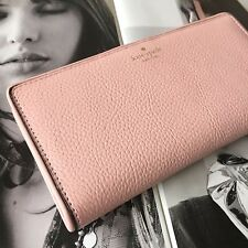 Kate Spade NY Rose Jade Pink Leather Mulberry Street Large Stacy Wallet NWT