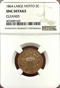 1864 LARGE MOTTO TWO CENT PIECE NGC UNC