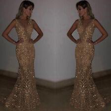 Langes Brautjungfern Pailletten Kleid Abendkleid Party Mermaid Ballkleid BC662