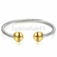 Polished Stainless Steel Elastic Adjustable Twisted Cable Wire Open Bangle Cuff