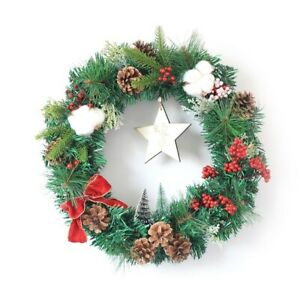 Christmas Xmas Cotton Pine Wreath Vine Ring Home Party Wall Hanging Decorations