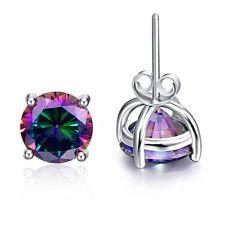 Solitare Women Men Gifts Round Cut Rainbow Topaz Gemstone Silver Stud Earrings