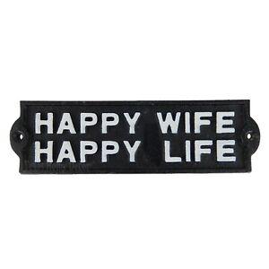 "Happy Wife Happy Life Cast Iron Plaque Sign Humorous Man Cave Black White 7.75"""