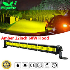 Amber 12inch 60W Flood Slim Single Row Fog LED Work Light Bar Car SUV Truck ATV