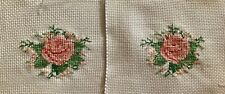 Completed Finished Cross Stitch, Rose In Peach