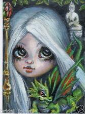 Aceo PRINT Dragon Buddha zombie fairy big eyes girl #90 art Liquid Acid Eyes