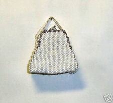 HAND BEADED  TRINKET PURSE PEYOTE OFF WHITE  SILVER
