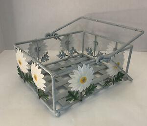 "Wire Basket Metal Daisy Flowers Rectangular Vintage W/handles 8x10x4"""