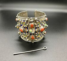 Antique Bracelet with Clasp Pin Kabylie Silver, Coral and Glazes