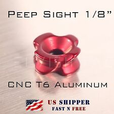 Peep Sight for Compound Bow 1/8 inch Red color CNC T6 Aluminum