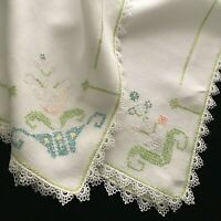 """VTG Antique Hand Embroidered Linen Lace Tablecloth Tea Cloth Topper 29.5""""x31.5"""""""