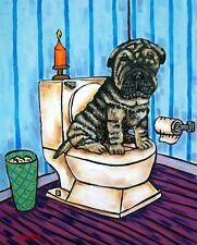 Shar Pei in bathroom painting dog art print 8 x10