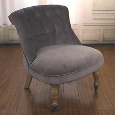 Bedroom Chair Soft Grey Velvet French Provincial Oak Comfortable New