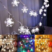2M 20 LED Battery Snowflake Fairy String Curtain Window Light Wedding Xmas Party