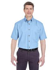 UltraClub Unisex Short-Sleeve Cypress Denim with Pocket Plain Dress Shirt - 8965