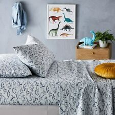 Adairs Kids Dinosaur Stomp Flannelette Blue Spot Sheet Set King Single