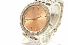 Michael Kors MK3218 Darci Rose Gld Dial Silver Tone Crystal Accent Bracelet L...