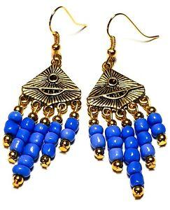 Short Gold Blue Chandelier Earrings Glass Bead Drop Dangle Gypsy Retro Boho Chic