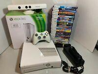 White Xbox 360 Slim 500gb Microsoft 25 Kinect Games Controller Complete Bundle