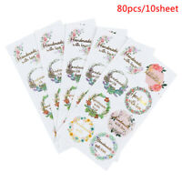 80PCS /10 Sheet Handmade with Love Stickers for Birthday Party  Gift Decor Label