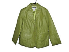 60's Design Green Leather Coat Green Lined sz 16 w Jessica London STUDIO