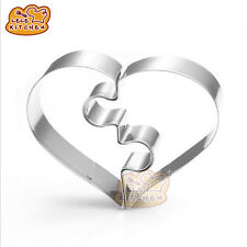 Stainless Steel Heart Puzzle Cookie Cutter Cake Biscuit Pastry Baking Mold Tools
