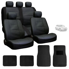 FOR FORD NEW PREMIUM BREATHABLE BLACK SYN LEATHER CAR SEAT COVERS MATS SET