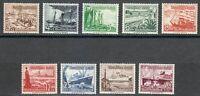 Germany 1937 MNH Mi 651-659 Sc B107-B115 Ships. Marine ** Perfect set **