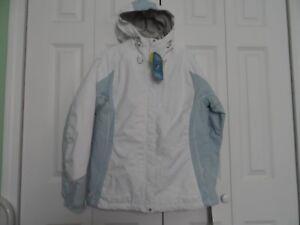 NEW Woman's size Medium Columbia White & Light Blue Waterproof Hoodie Winter Coa