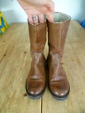 Stunning CATERINA MARTINS Brown Leather Fleece Lined Mid Height WINTER BOOTS 4