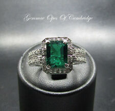14K 14ct White Gold Emerald & Diamond Ring Size N 4.7g with certification
