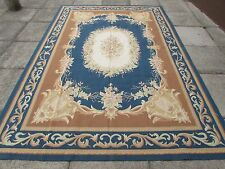 Old Hand Made French Design Wool 10x7 Brown Blue Original Aubusson 302X209cm