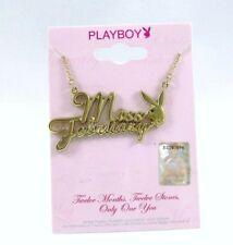 "PLAYBOY Bunny Miss FEBRUARY Birthstone 16"" Necklace AMETHYST Crystal GOLD Plated"