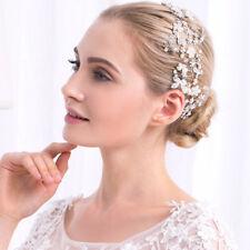 Perlas de plata tocado Pelo Novia casco de cristal accesorios de boda de vid