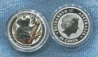 2013 Silver Proof Coin Australia Koala in tree watching 50 Cent Coin in capsule