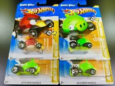 """LOT OF 4 Hot Wheels Angry Birds  """"Red Bird And Minion Pigs"""" 2012"""