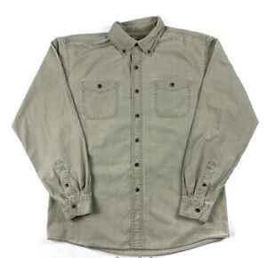Vintage 90s Beige Safari Shirt Overshirt Colour Block Mens Large L Long Sleeved