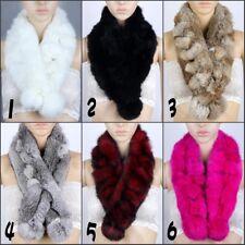 Women Rex Rabbit Fur Handmade Scarf Fur Collar Ladies Warm Winter Scarf