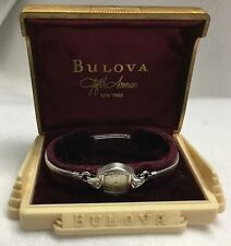 c.1940s BULOVA 10k White R.G.P. & Diamond Ladies L1 Swiss Wristwatch w/ Box!